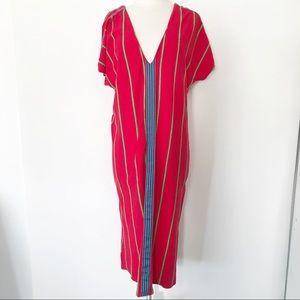 Zara Trafaluc Boho Midi V-Neck Red Dress S